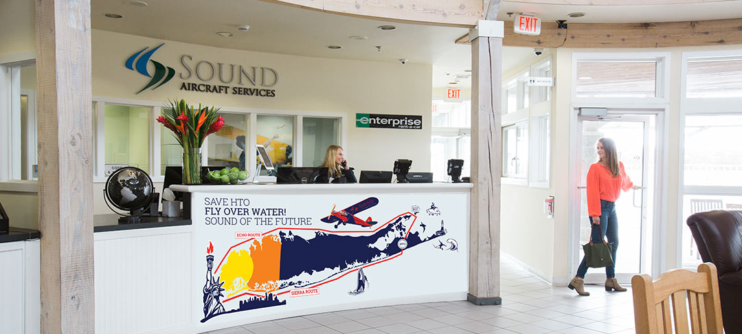 East Hampton Airport Supports it's neighbors by establishing over water routes.